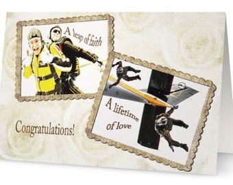 Gay marriage wedding congratulations greeting card, tandem sky divers, plane, funny gay congratulations, gay wedding congrats