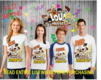 The Loud House theme birthday BOY theme Shirts for the entire family Girl Dad Mom  Age Name Custom Raglan T-shirt  hero