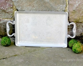 Aluminum Rectangular Serving Tray w Handles. Vintage. Embossed Dogwood Flowers. Summer. Non tarnish. Casual. Home Decor. Vanity. Dining.