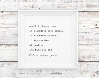 I'd Choose You Love Quote, Wall Art Print, Printable Art, Home Decor, Motivational, Printable Wall Art, Instant Download
