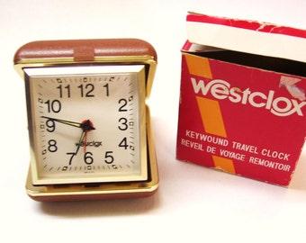 Vintage Westclox Travel Alarm Clock Fold Up Made in Brazil