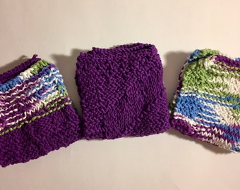 Set of 3 Large Knitted Dish Cloths - Purple Themed