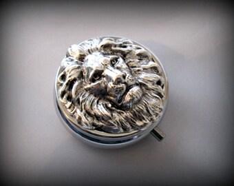 Silver Pill Box ,lion head Pill Case, Gothic pill box, lion pill case , victorian style pill box, 3D pill box