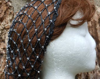 "Nets Hat Renaissance Hair Snood Net Black and Silver ""STARLIGHT"" With Czech Glass Crystal Beads  SHOULDER Length Hair"