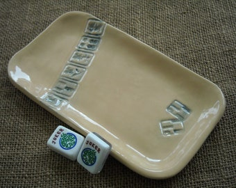 Mahjong Dish - Oriental Plate - Mahjong Snack Plate - Oriental Dish - Mahjong Gift - Mahjong Pottery
