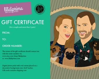 Gift for dog or cat lovers. Gift certificate. Personalized portraits, wedding gift for couples. Custom portraits with pets.
