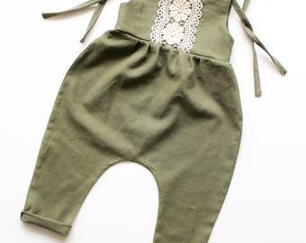Linen & Lace jumpsuit-linen romper/jumpsuit- olive green jumpsuit/romper- lace jumpsuit/romper- toddler romper / jumpsuit - girls romper