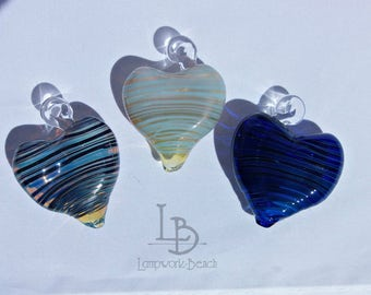 Handmade Lampwork Glass Heart Ornaments Sun Catchers--Blues