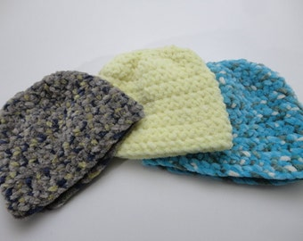 Set of 3 Newborn Baby Hats - Super Soft and Warm - Ready to Ship