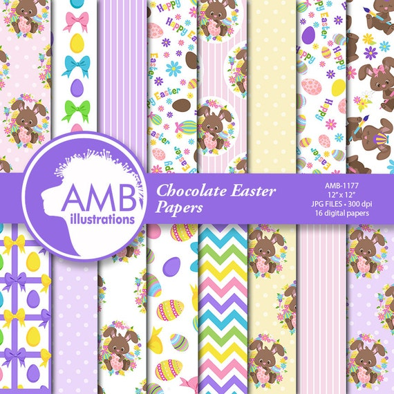 Chocolate Easter Bunny Papers Easter Ribbons Paper Scrapbook Paper