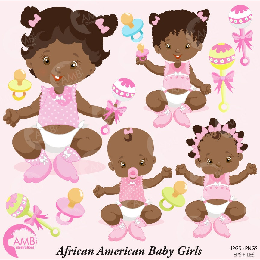 African American Baby Girl Clip Art