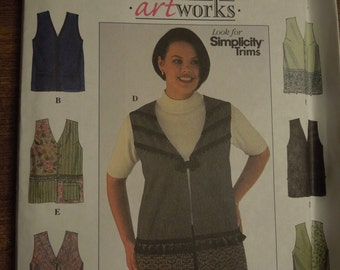 Simplicity 8631, sizes 26W-32W, lined vests, misses, womens, UNCUT sewing pattern, craft supplies