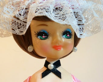 Pink rose flower & lace Southern Belle big eyed Bradley boudoir pose doll - French 70s vintage