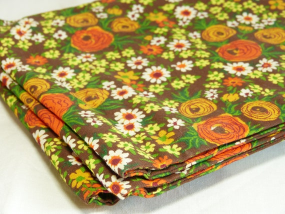 Fabric Plate Warmer ~ Orange brown flower fabric electrical plate warmer retro
