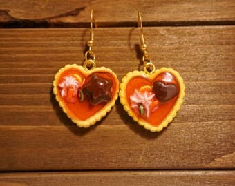 Strawberry jam tart earrings- food jewelry