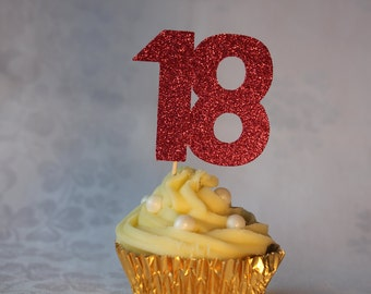 18th Birthday Glitter Cupcake Topper, Set of 12, Various Colours Available