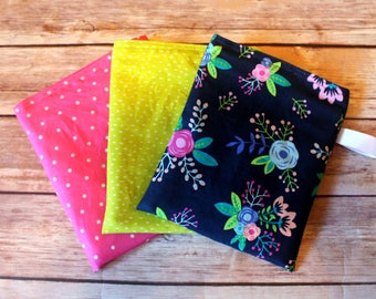 Reusable Snack bag - set of 3 - multi use - lunch bag - Pink, Green, and Floral