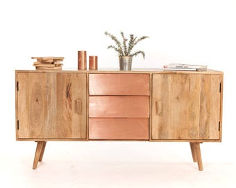 Scandinavian buffet wood and copper