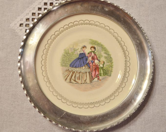 Vintage Farberware Plate Aluminum and Ceramic Victorian Woman Scene Brooklyn NY PanchosPorch