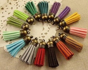 Tassels in artificial leather multicolor 39*10mm antique bronze cap perfect for necklace phone accessories No.HDT