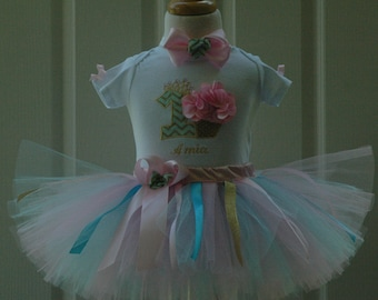 fist birthday outfit girl,baby girl 1st birthday outfit,cupcake  tutu,pink and aqua,shabby chic 1st,boho,hand cut sewn personalized dress
