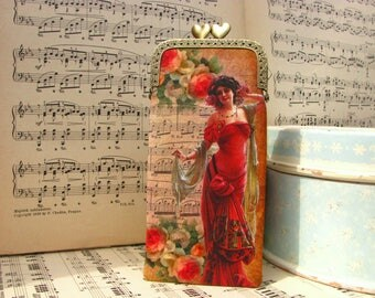 Vintage eyeglass case, kiss lock frame with hearts, oriental lady in roses