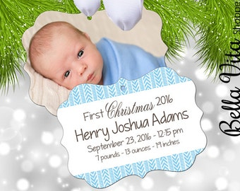Baby's First Christmas Ornament Boy Personalized Arrows Boho Hipster - Babies First Keepsake Ornament - Double Sided Aluminum 6090
