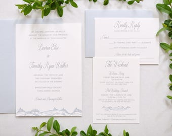 Mountain Wedding Invitation Dusty Blue Destination Invite SAMPLE