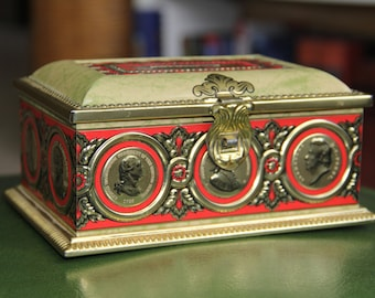 Vintage Linette American Historical Figures Tin Metal Bank Box/Famous Figures/Famous Americans/Historical Men/Bank/Trinket Box