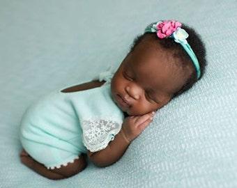 Newborn Romper, Lace Romper, Light Teal, Newborn Props, Baby Girl Outfit, Newborn Photo Prop, Photo Outfit, Baby Girl Romper, Baby Prop