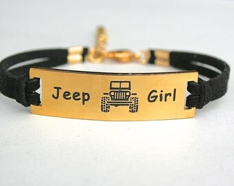 Stainless Steel Gold Off Road Vehicle Bracelet, Faux Suede Leather Cord, Best Friend Bracelet,  Gift For Her, Sports Jewelry, ST755