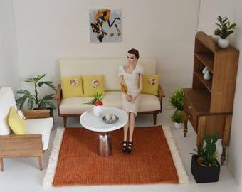 "1/ 6 scale rug_miniature home decor_doll furniture accessory_dollhouse diorama area rug for 10"" to 12"" dolls_Blythe_Momoko_barbie size"