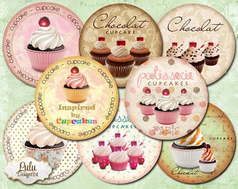 Cupcake digital collage sheet, 2,5 inch circles, cupcake toppers, pocket mirror images, jewelry handmade, printable stickers, planner