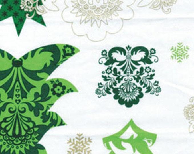 Half Yard Deck the Halls - Christmas Trees White with Metallic Accents - Christmas Cotton Quilt Fabric - Benartex Fabrics -6452M-09 (W3485)