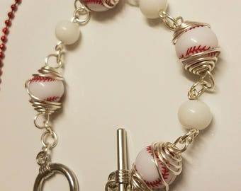 Caged bead baseball bracelet