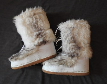 White fluffy yeti snow boots