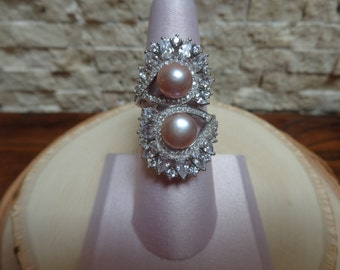 Stunning Pink Pearl, Sterling Silver and CZ ring, size 8
