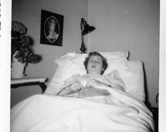 Vintage Photo..Recovering in Bed, 1950's Original Found Photo, Vernacular Photography