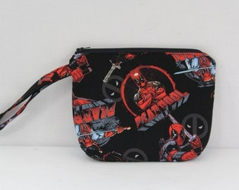 Deadpool Inspired Zippered Wristlet Pouch Wallet