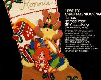 "Bucilla Santa's Sack ~ 21 1/2"" Jumbo Felt Christmas Stocking Kit #48601, Toys DIY"