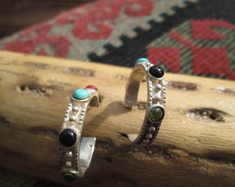 Multistone  and Sterling Hoop Earrings