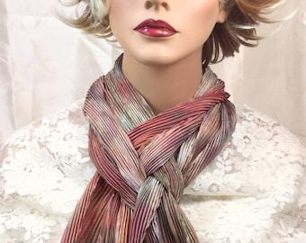 Silk scarf hand dyed shibori earthtones great adirondack original arashi shibori