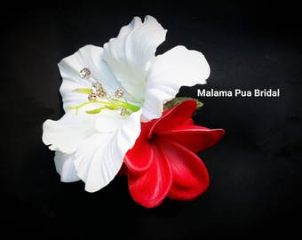 TROPICAL FLOWER Hair clip, Hair accessory, Wedding Headpiece, Hawaiian, Hibiscus, Silk Flower, Bridal hair flower, Custom hair clip, Beach