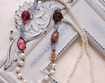 Pearl necklace Pink beads assemblage necklace Long vintage inspired necklace