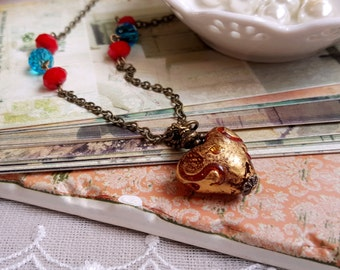 Antique inspired lampwork heart glass pendant necklace Red and teal crystals necklace
