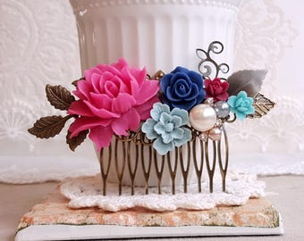 Rustic hair comb Floral collage haircomb Rapsberry pink rose Navy blue bridal hair comb Flower jewelry
