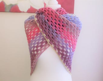 Crochet triangle shawl scarf, trending right now, crocheted items, evening shawls wraps, lightweight scarf, unique handmade scarves