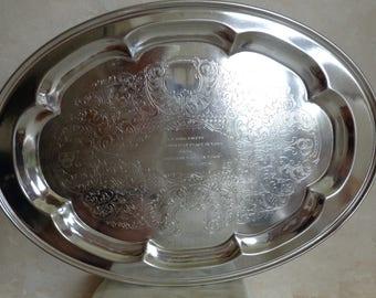 Vintage Large Oval Ballantine Serving Tray (#0913)