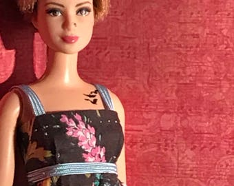 "HautePoppet ""phoebe"" style floral maxi dress for barbie/fashion royalty size dolls"