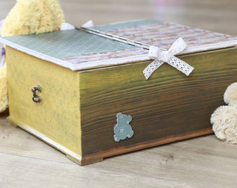 Big wooden box, Wooden organizer in mint - yellow colors, Wooden storage box, Storage box for kids